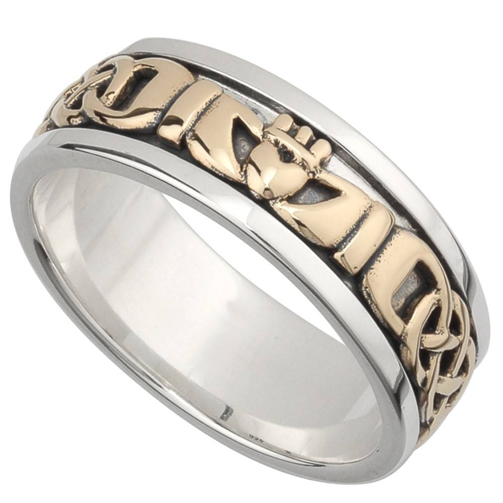 Irish Wedding Band – 10K Gold And Sterling Silver Mens Celtic Knot Throughout Mens Claddagh Wedding Rings (View 10 of 15)