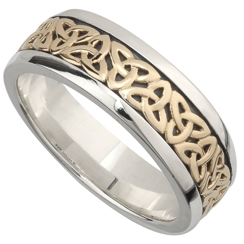Irish Wedding Band – 10K Gold And Sterling Silver Mens Celtic Pertaining To Celtic Trinity Engagement Rings (View 12 of 15)