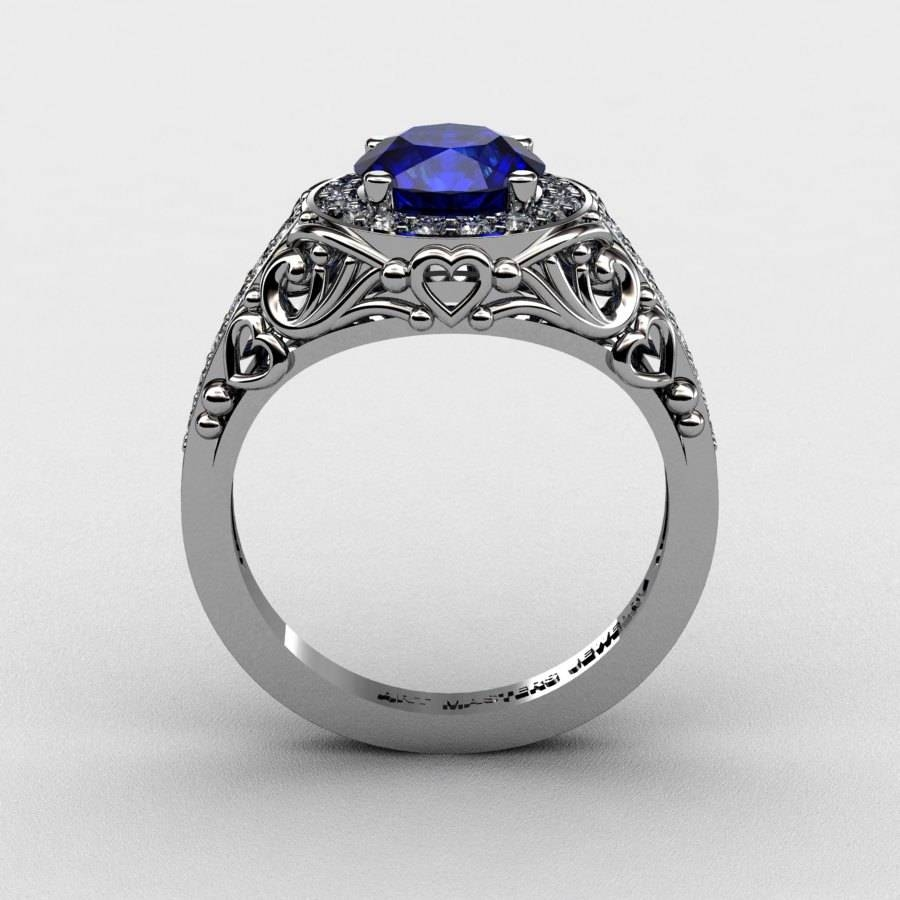 Italian 950 Platinum 1.0 Ct Blue Sapphire Diamond Engagement Ring Regarding Blue Sapphire Wedding Rings (Gallery 12 of 15)