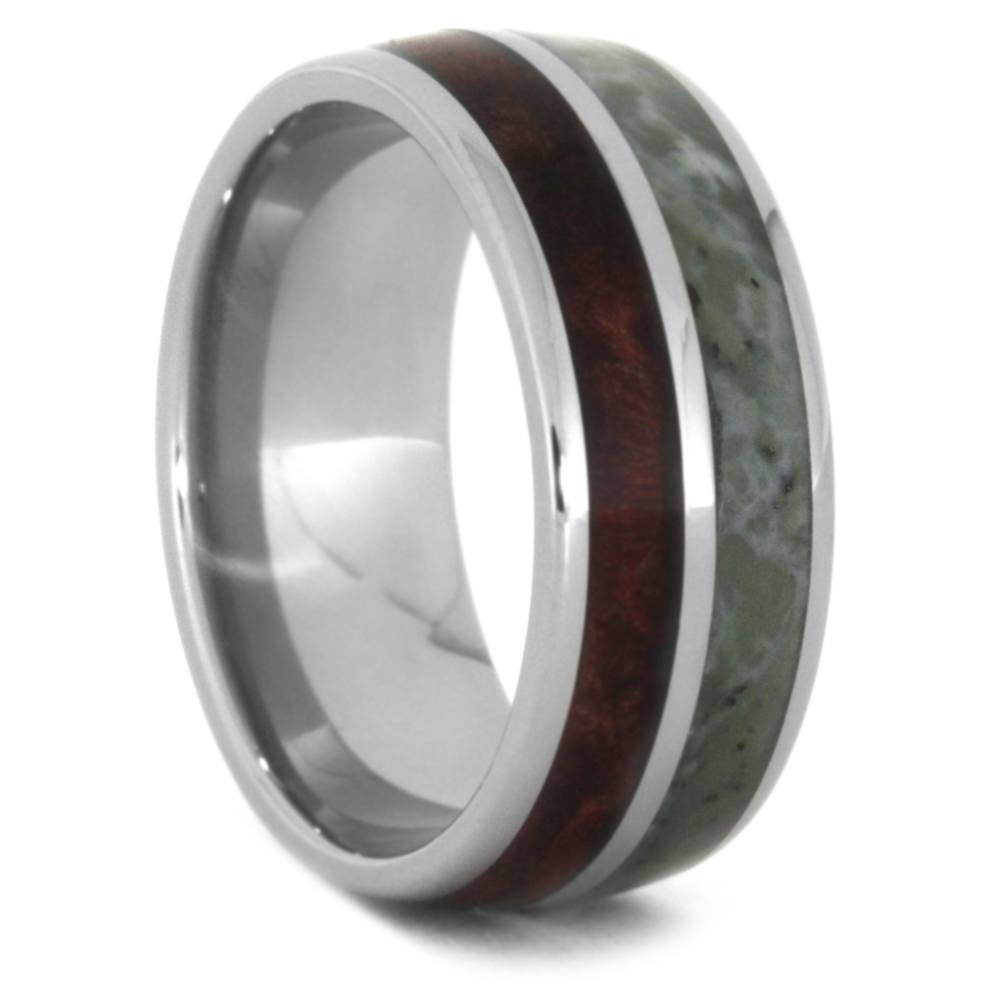 Jade Wedding Band, Obsidian Ring In Titanium, Jewelryjohan Inside Obsidian Wedding Bands (Gallery 7 of 15)