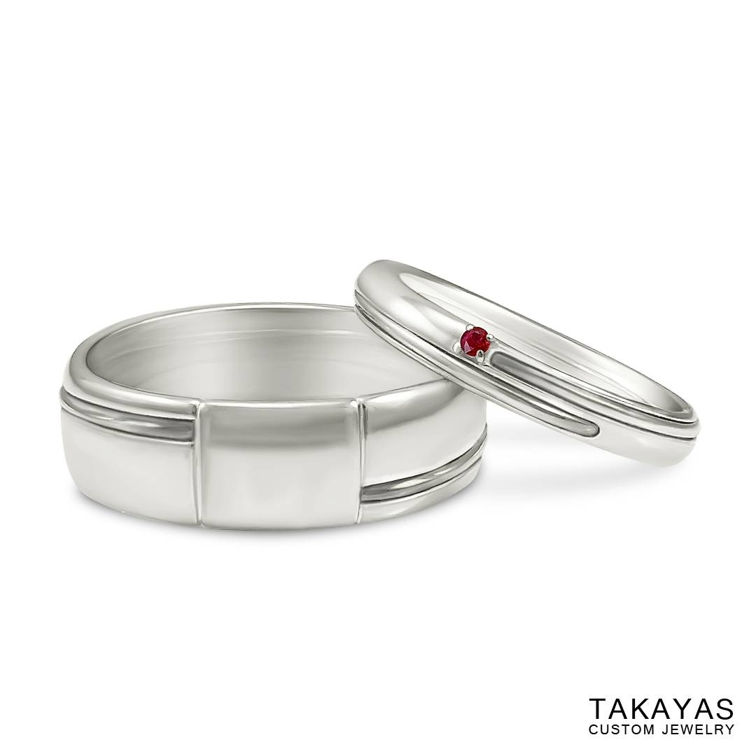 Japanese Love Story Wedding Set — Takayas Custom Jewelry Regarding Red String Of Fate Wedding Rings (View 4 of 15)