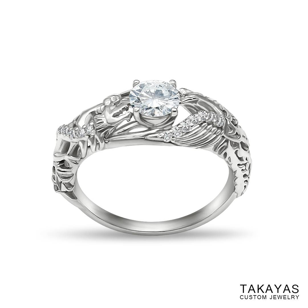 Japanese Love Story Wedding Set — Takayas Custom Jewelry With Red String Of Fate Wedding Rings (View 6 of 15)