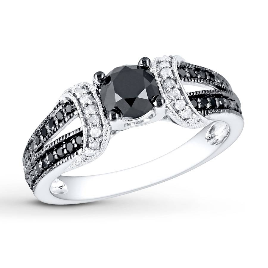 Jared – Black/white Diamond Ring 1 Ct Tw Round Cut 10K White Gold Pertaining To Black Gold Diamond Wedding Rings (Gallery 3 of 15)