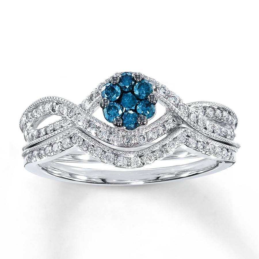 Jared – Blue Diamond Bridal Set 1/2 Ct Tw Round Cut 14K White Gold Throughout Blue Diamond Wedding Ring Sets (View 11 of 15)