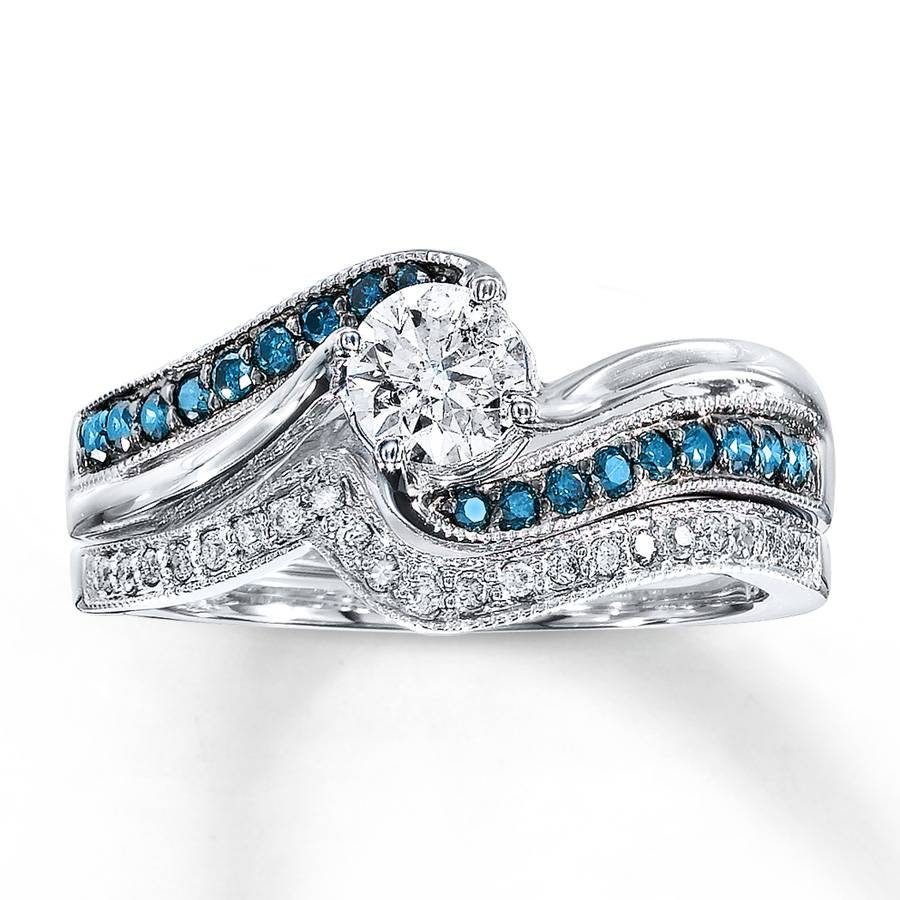 Jared – Blue Diamond Bridal Set 5/8 Ct Tw Round Cut 14K White Gold For Blue Diamond Wedding Ring Sets (View 12 of 15)