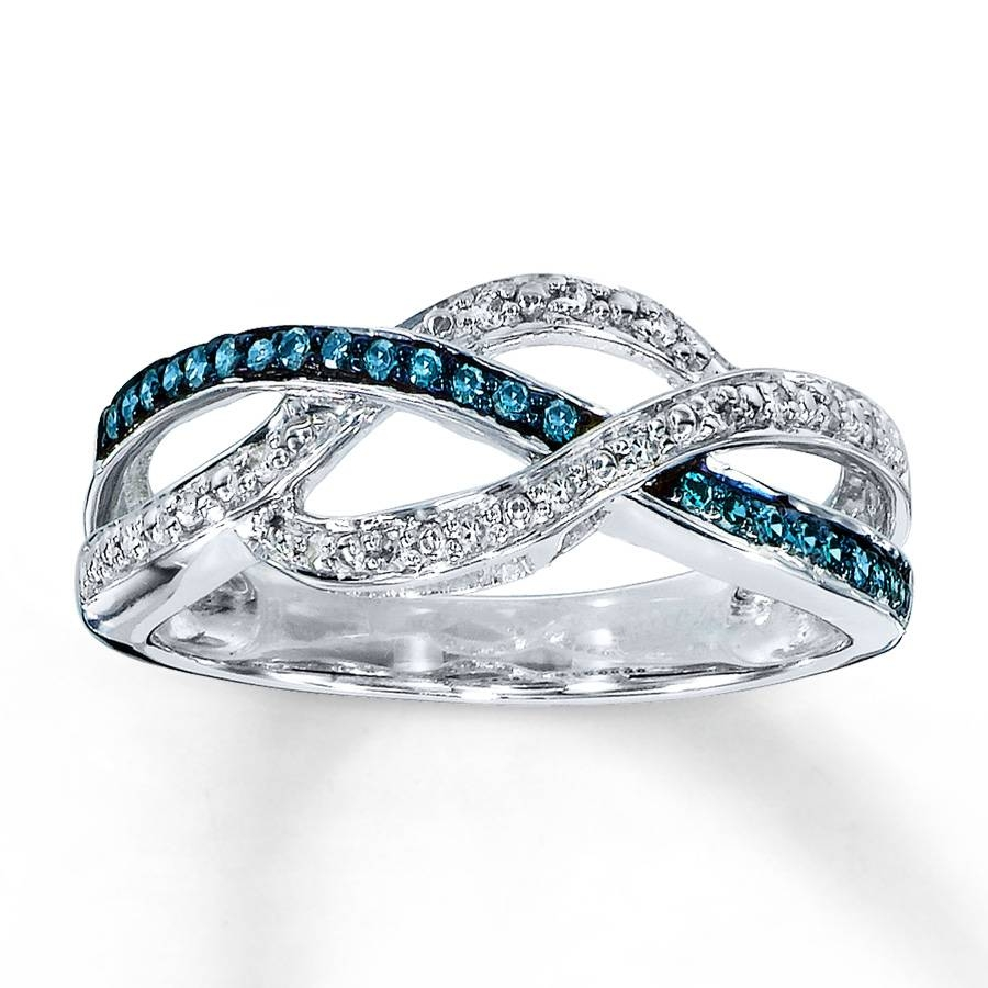 Jared – Blue & White Diamond Ring 1/4 Ct Tw Round Cut Sterling Silver Within Blue Line Engagement Rings (View 4 of 15)