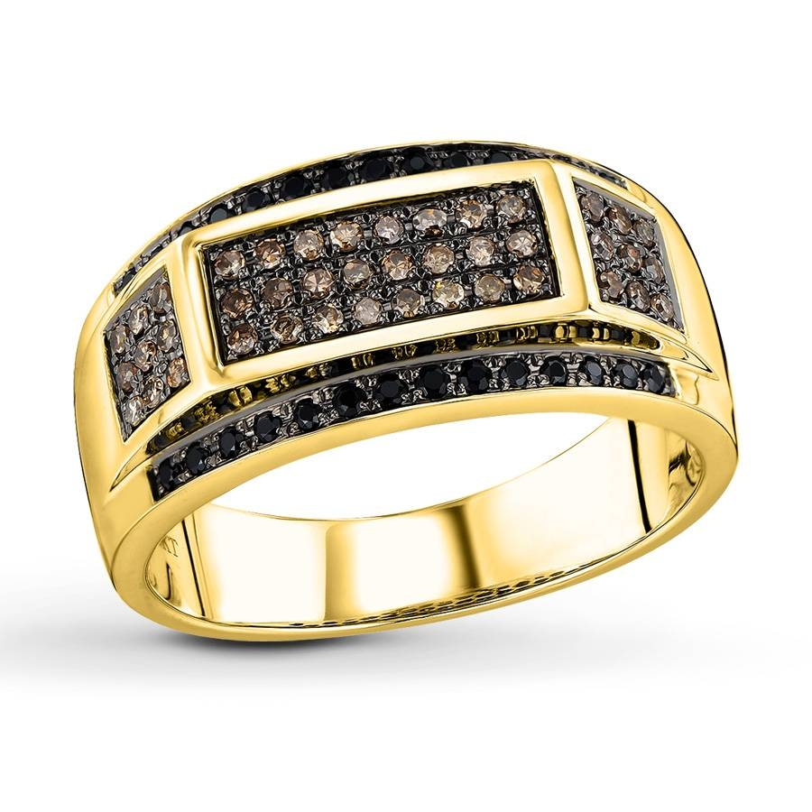 Jared – Brown/black Diamonds 1/2 Ct Tw Men's Ring 10K Yellow Gold Throughout Jared Mens Engagement Rings (Gallery 6 of 15)