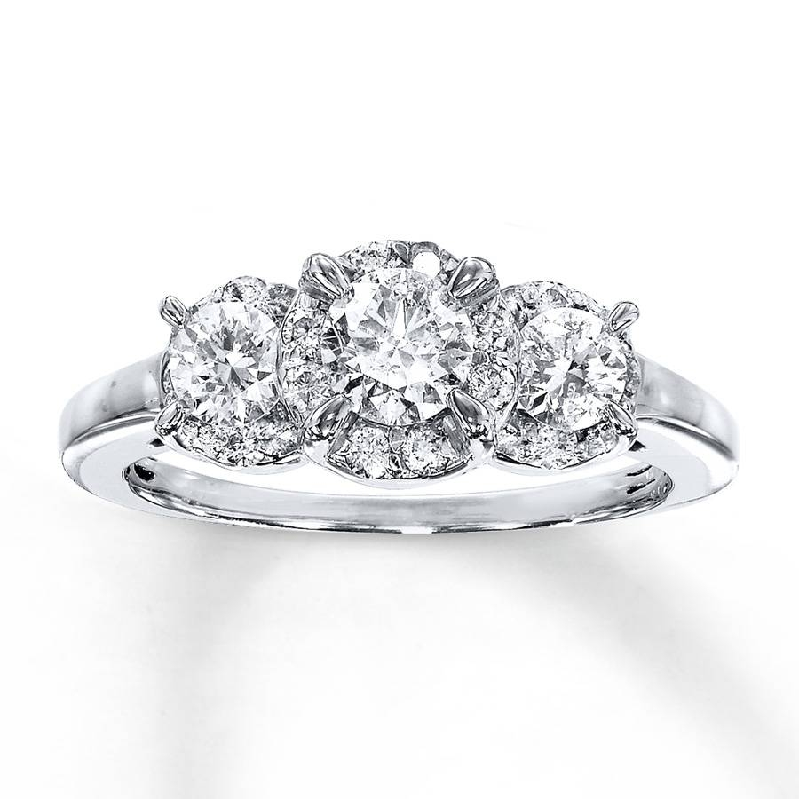 Jared – Diamond 3 Stone Ring 1 Carat Tw Round Cut 14K White Gold For White Gold 3 Stone Engagement Rings (Gallery 11 of 15)