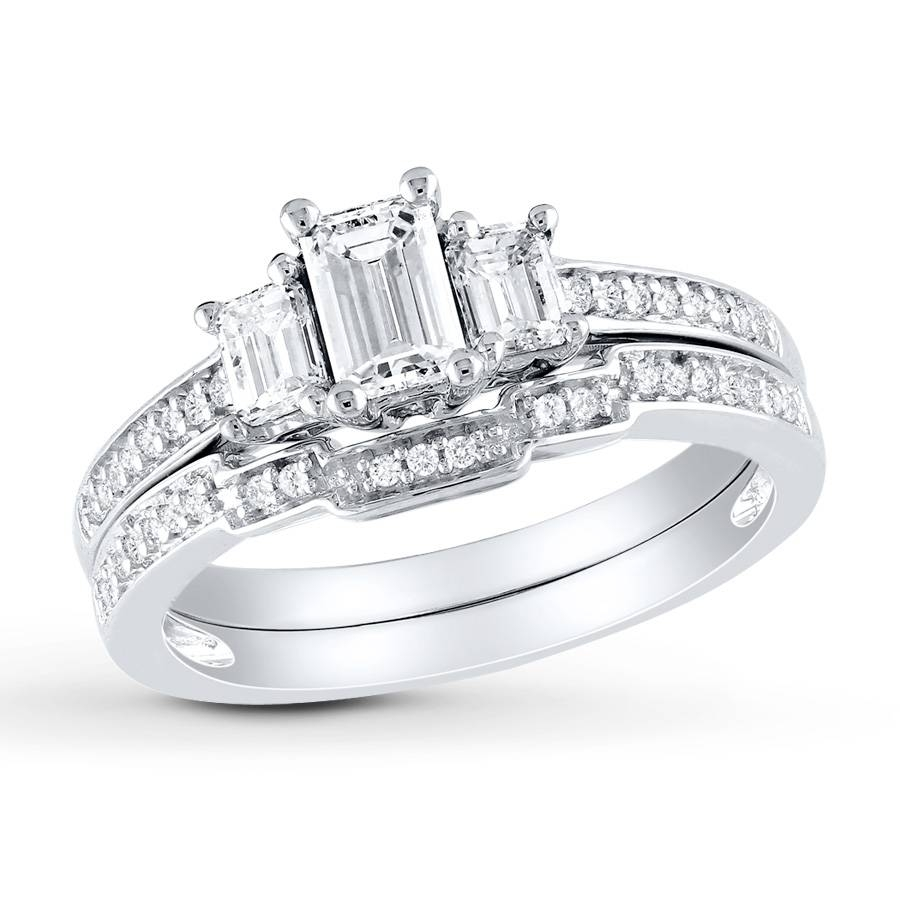 Jared – Diamond Bridal Set 1 Ct Tw Emerald Cut 14K White Gold For Wedding Rings For Bride And Groom Sets (View 12 of 15)