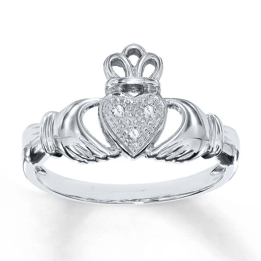 Jared – Diamond Claddagh Ring Diamond Accents 10K White Gold Pertaining To Claddagh Rings Engagement Diamond (View 14 of 15)
