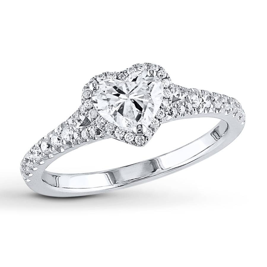 Jared – Diamond Engagement Ring 1 Ct Tw Heart Shaped 14k White Gold Throughout Heart Engagement Rings (View 15 of 15)