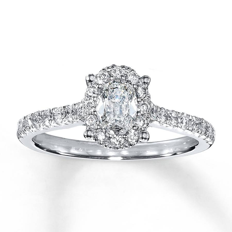 Jared – Diamond Engagement Ring 1 Ct Tw Oval 14K White Gold Inside 14K Wedding Rings (View 9 of 15)