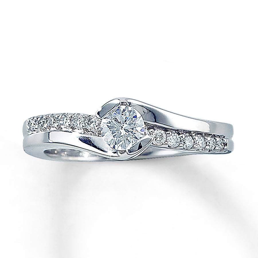 Jared – Diamond Engagement Ring 1/2 Ct Tw Round Cut 14K White Gold With Jared Vintage Engagement Rings (View 9 of 15)