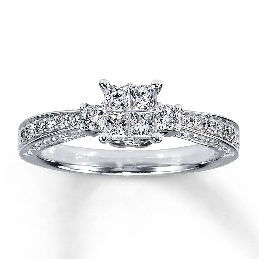 Jared – Diamond Ring 3/4 Ct Tw Princess/round 14K White Gold Within Jared Solitaire Engagement Rings (View 3 of 15)