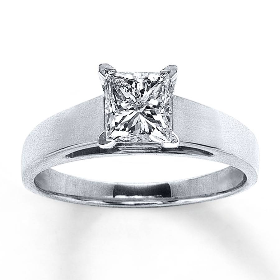 Jared – Diamond Solitaire Ring 1 1/4 Ct Tw Princess Cut 14k White Gold Within Jared Solitaire Engagement Rings (View 4 of 15)