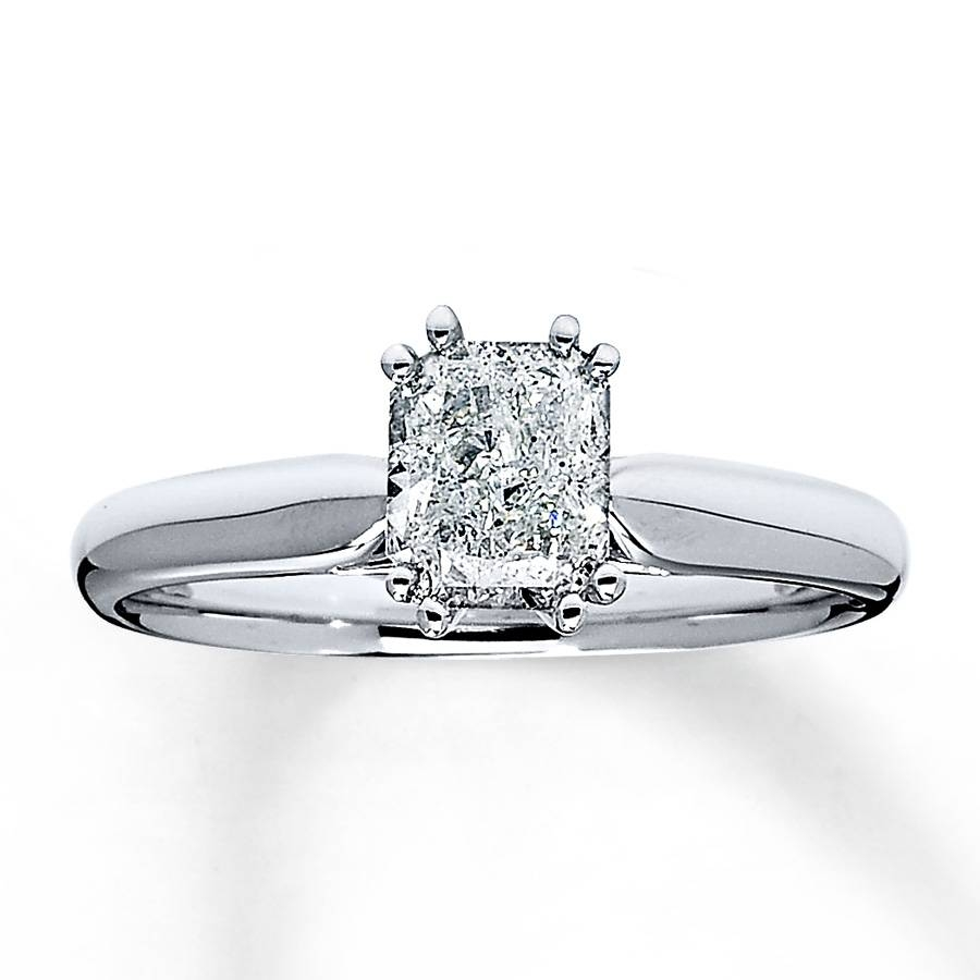 Jared – Diamond Solitaire Ring 1 Carat Radiant Cut 14k White Gold With Regard To Jared Solitaire Engagement Rings (View 14 of 15)