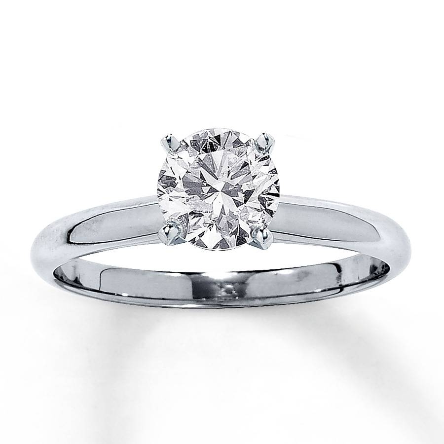 Jared – Diamond Solitaire Ring 1 Carat Round Cut 14K White Gold Within 14 Karat Wedding Rings (Gallery 14 of 15)