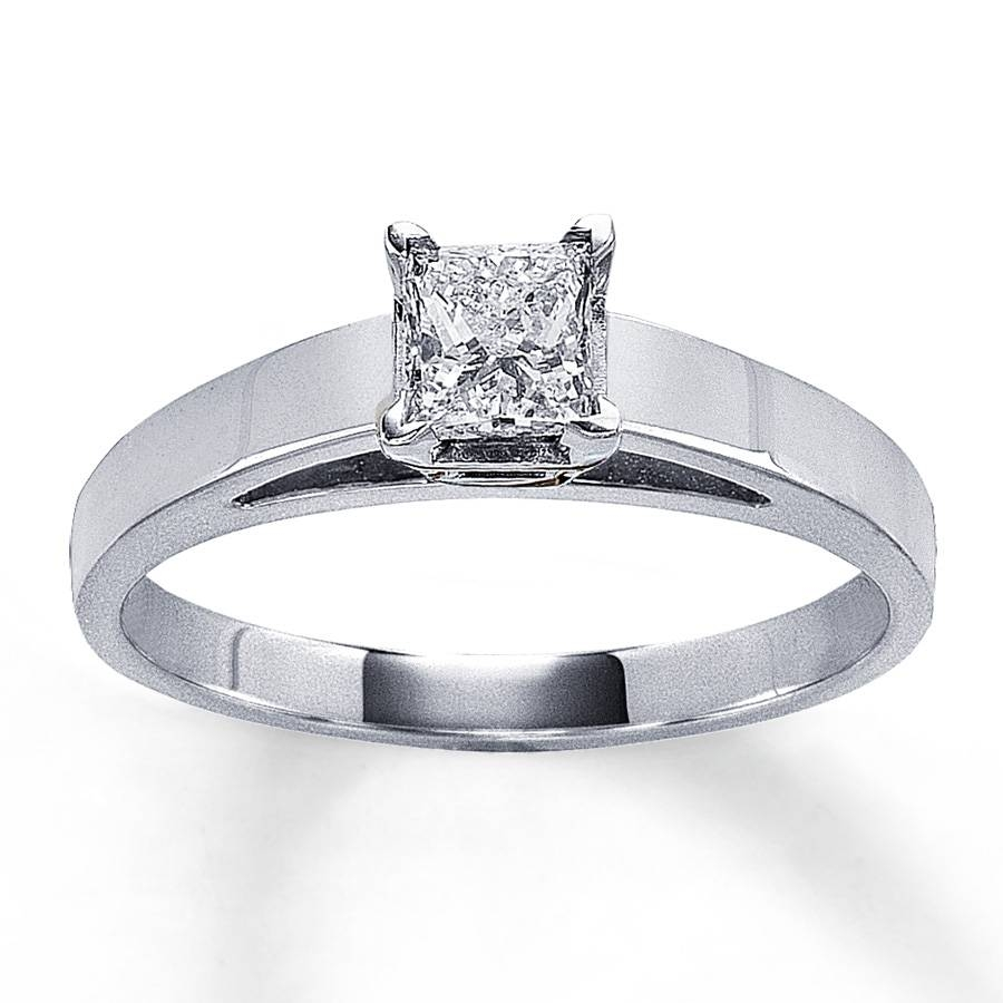 Jared – Diamond Solitaire Ring 1/2 Carat Princess Cut 14K White Gold For Jared Solitaire Engagement Rings (View 7 of 15)