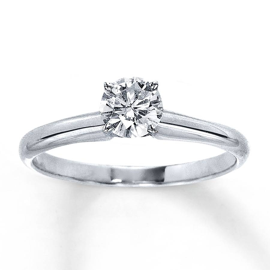 Jared – Diamond Solitaire Ring 1/2 Carat Round Cut 14K White Gold Throughout Jared Solitaire Engagement Rings (View 8 of 15)