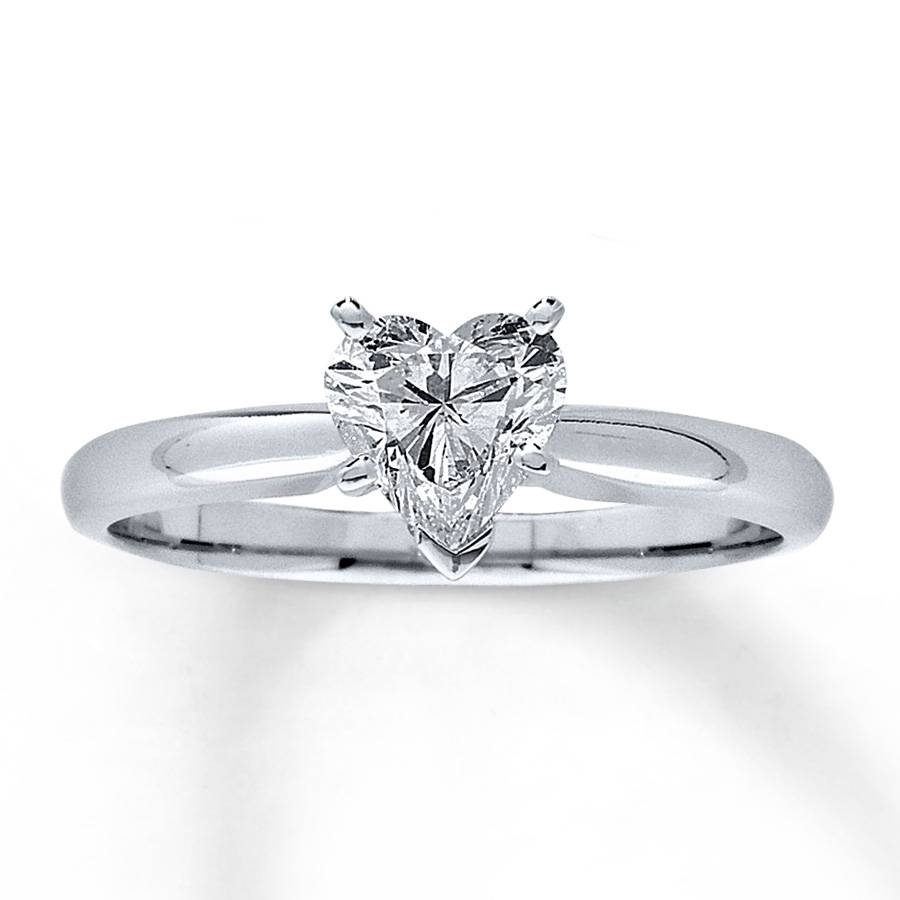 Jared – Diamond Solitaire Ring 3/4 Carat Heart Shaped 14K White Gold Regarding Jared Solitaire Engagement Rings (Gallery 15 of 15)