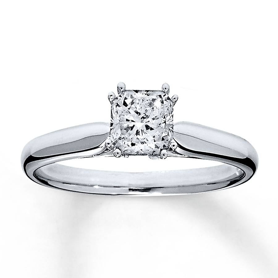 Jared – Diamond Solitaire Ring 3/4 Ct Radiant Cut 14K White Gold With Regard To Radiant Wedding Rings (View 4 of 15)
