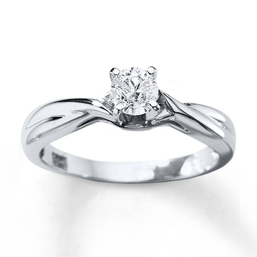 Jared – Diamond Solitaire Ring 3/8 Carat Round Cut 14K White Gold For Jared Solitaire Engagement Rings (Gallery 2 of 15)
