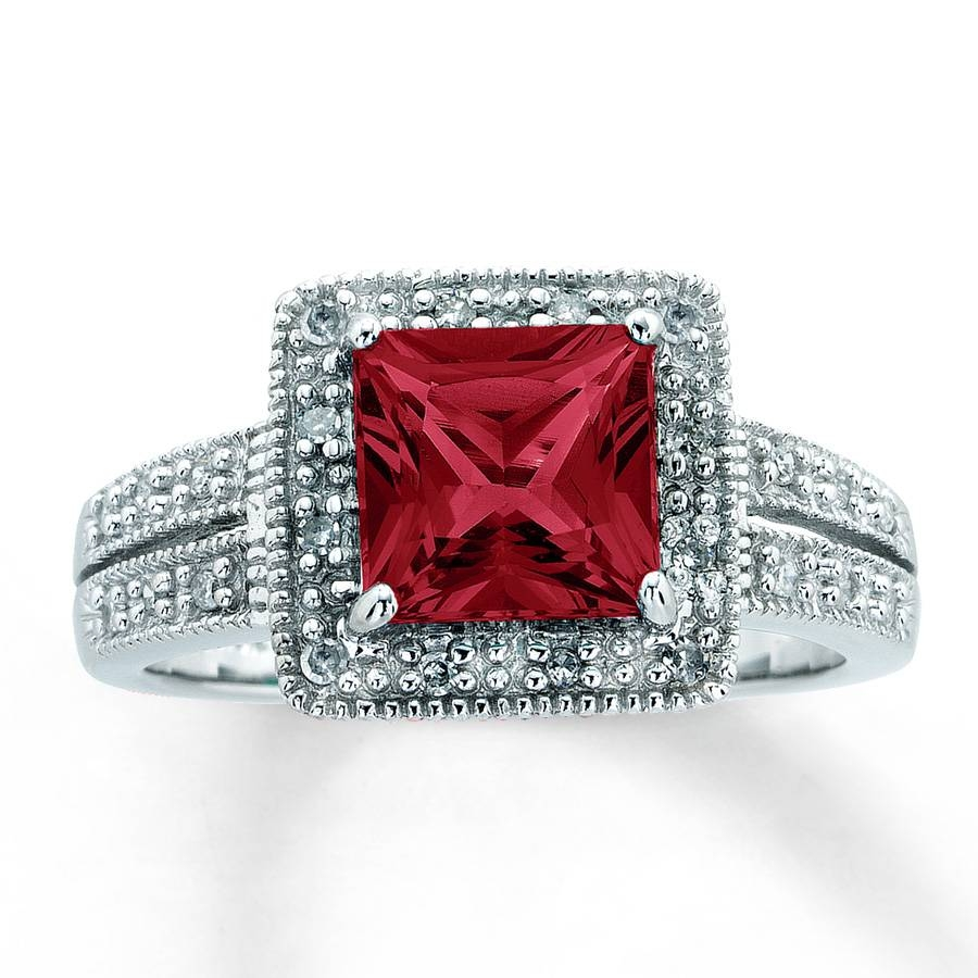 Jared – Lab Created Ruby Ring Square Cut With Diamonds 10k White Gold In White Gold Ruby Engagement Rings (View 12 of 15)