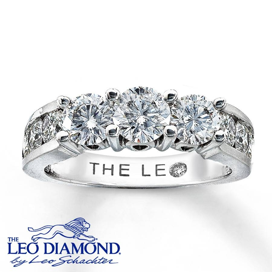 Jared – Leo 3 Stone Diamond Ring 2 Ct Tw Round Cut 18K White Gold In Leo Diamonds Engagement Rings (View 3 of 15)