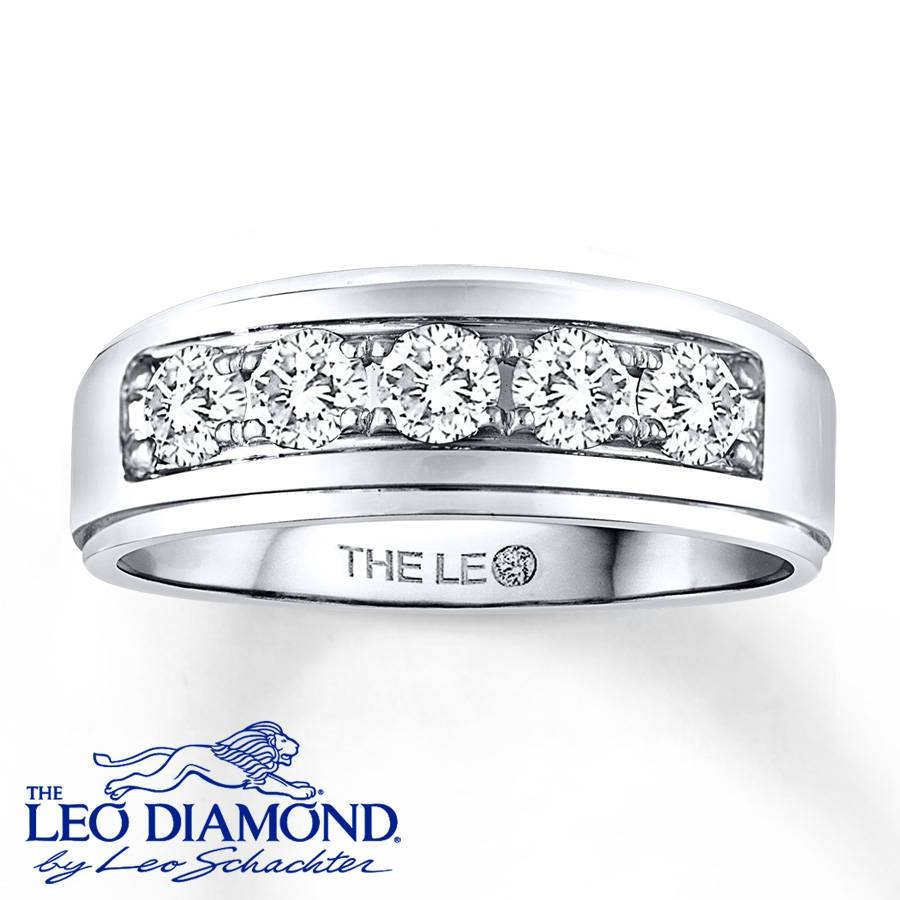 Jared – Leo Diamond Men's Band 1 Ct Tw Round Cut 14K White Gold With Regard To Jared Jewelers Men Wedding Bands (View 5 of 15)