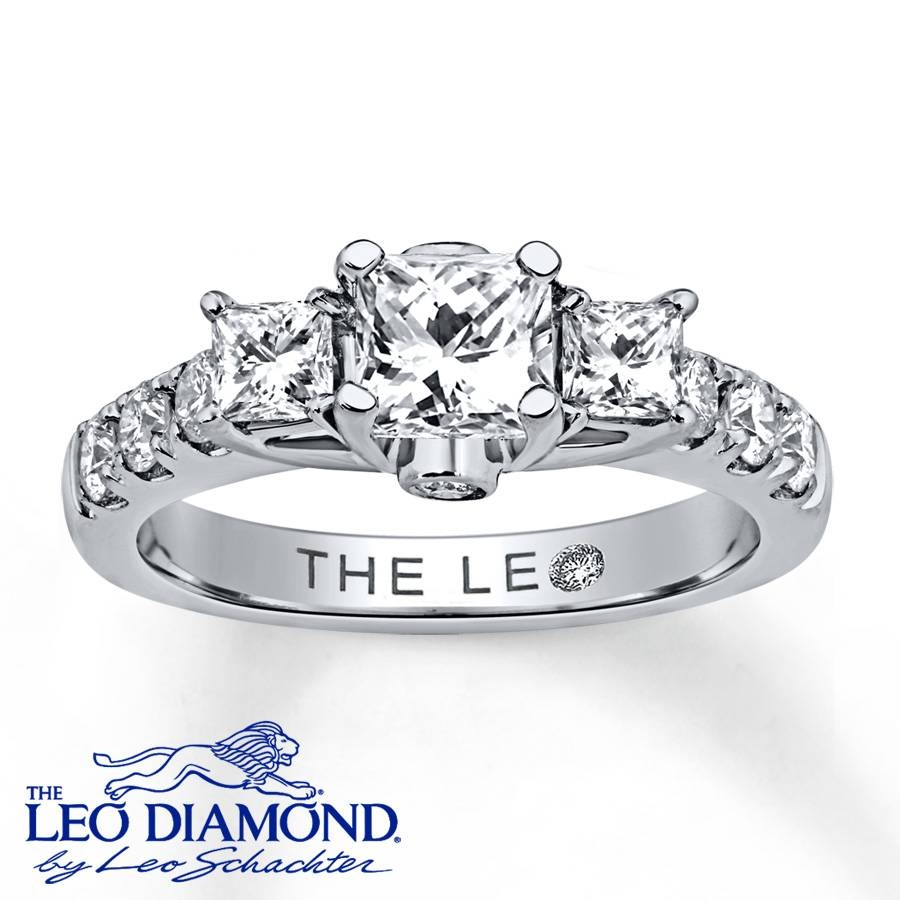 Jared – Leo Diamond Ring 1 3/8 Ct Tw Princess Cut 14K White Gold With Leo Diamonds Engagement Rings (View 7 of 15)
