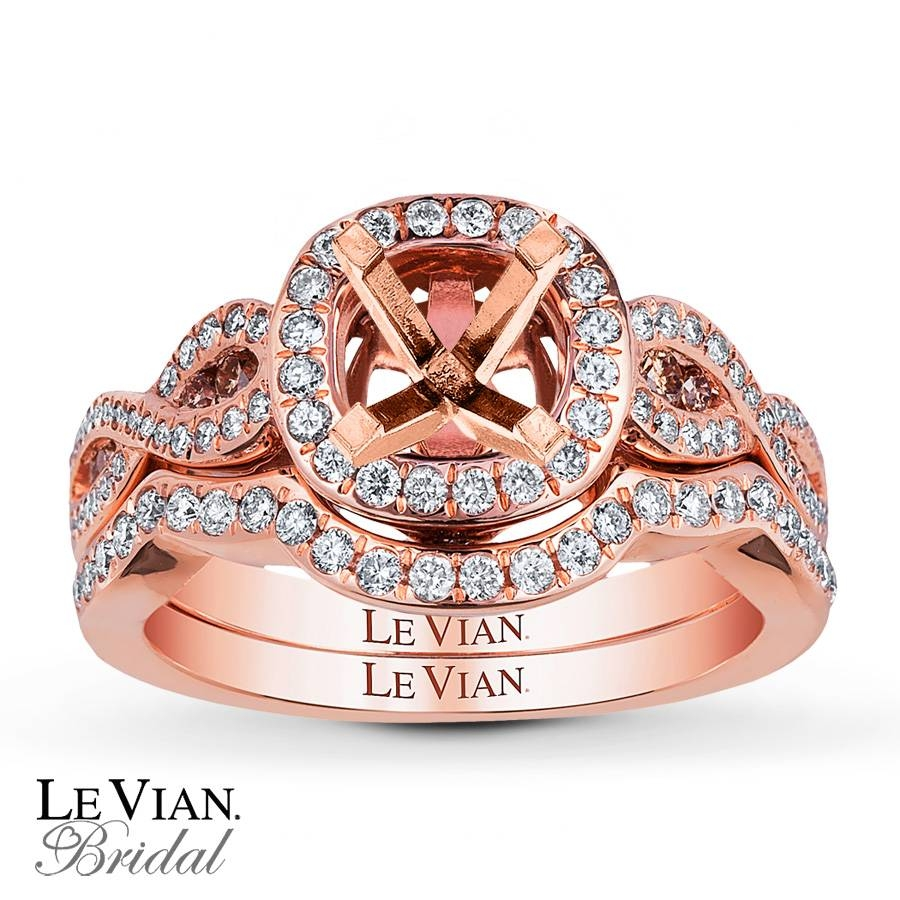 Jared – Levian Bridal Setting 1/2 Ct Tw Diamonds 14K Strawberry Gold For Strawberry Gold Wedding Rings (View 4 of 15)