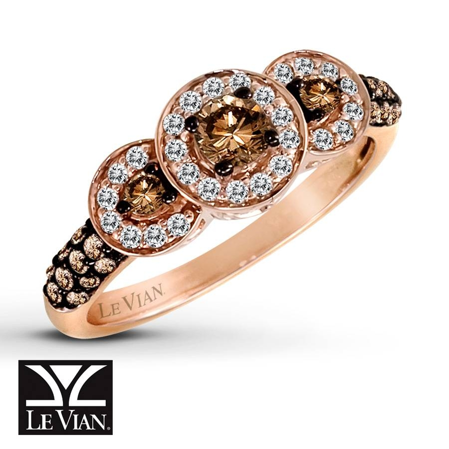 Jared – Levian Chocolate Diamonds 5/8 Ct Tw Ring 14K Strawberry Gold Throughout Strawberry Gold Wedding Rings (View 6 of 15)