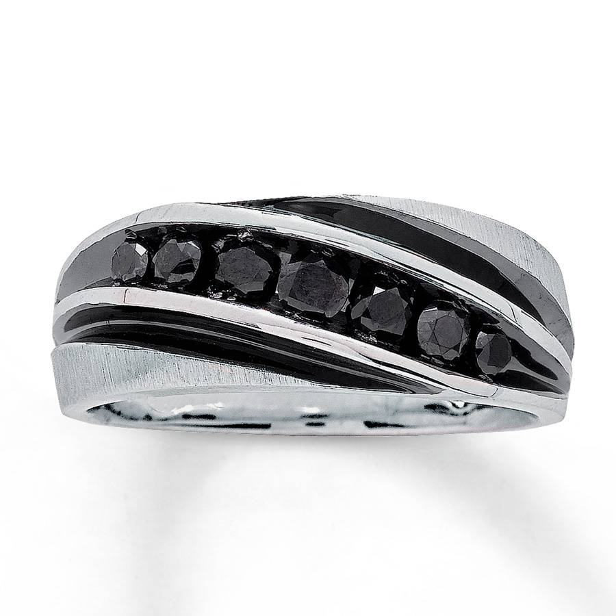 Jared – Men's Black Diamond Band 3/4 Ct Tw Round Cut 10K White Gold Pertaining To Jared Mens Engagement Rings (View 4 of 15)