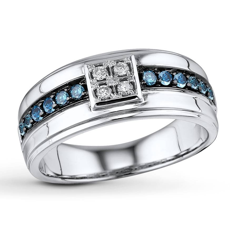 Jared – Men's Diamond Ring 1/2 Ct Tw Blue/white Sterling Silver With Jared Mens Engagement Rings (View 12 of 15)