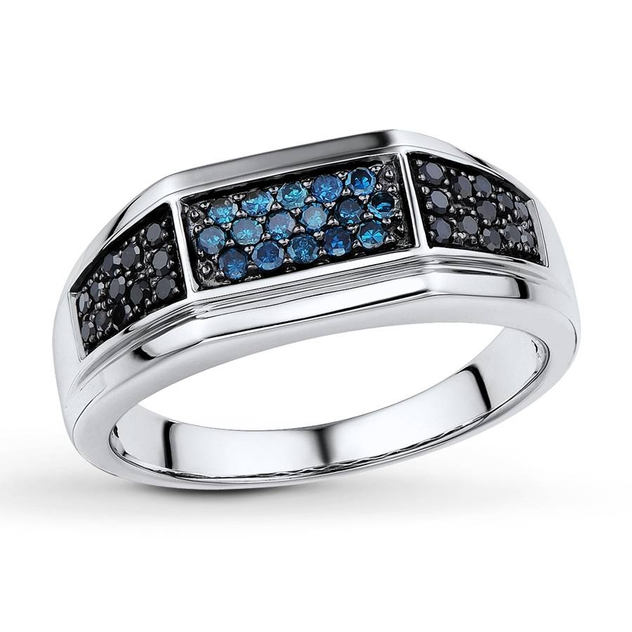 Jared – Men's Diamond Ring 3/8 Ct Tw Blue/black Sterling Silver Pertaining To Silver Mens Engagement Rings (View 7 of 15)