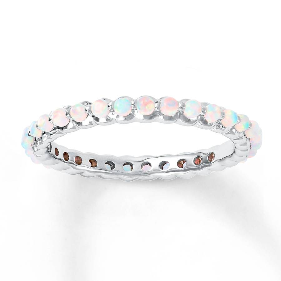 Jared – Stackable Ring Lab Created Opals Sterling Silver Intended For Opal Wedding Bands (Gallery 9 of 15)