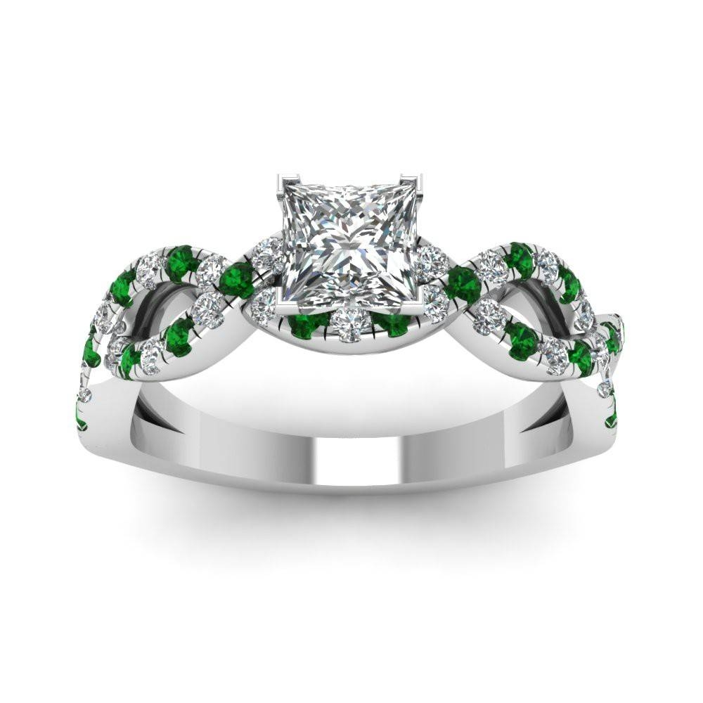 Jeulia Princess Cut Created White Sapphire With Emerald Sidestone Throughout Princess Cut Emerald Engagement Rings (View 9 of 15)