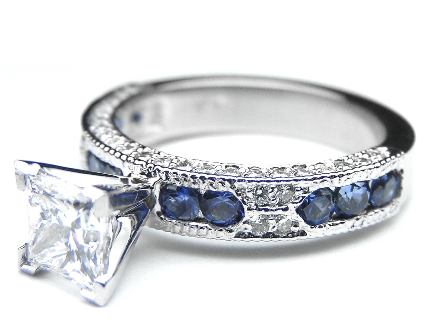 Jewelry Rings: Blue Diamond Engagement Rings For Women Topaz In Regarding Thin Blue Line Engagement Rings (Gallery 14 of 15)