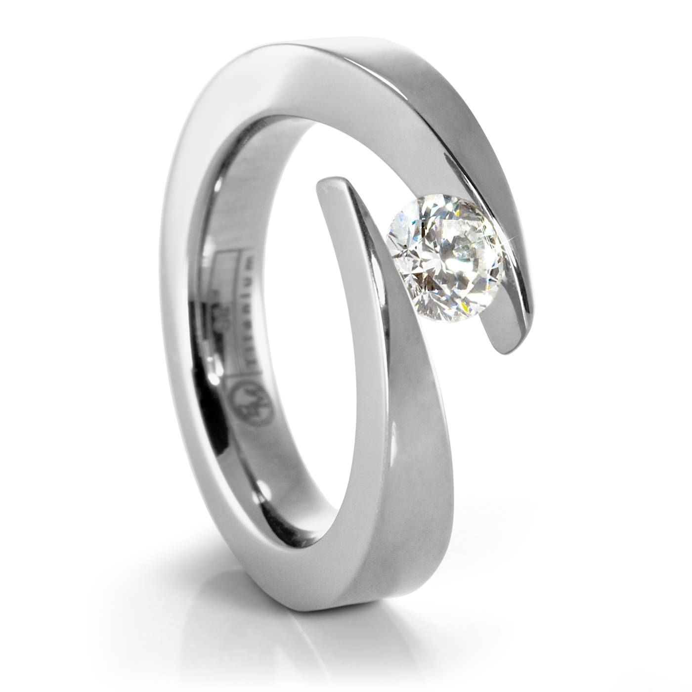 Jolie Ladies' Titanium & Diamond Engagement Ring Throughout Tension Set Engagement Rings With Wedding Bands (View 2 of 15)