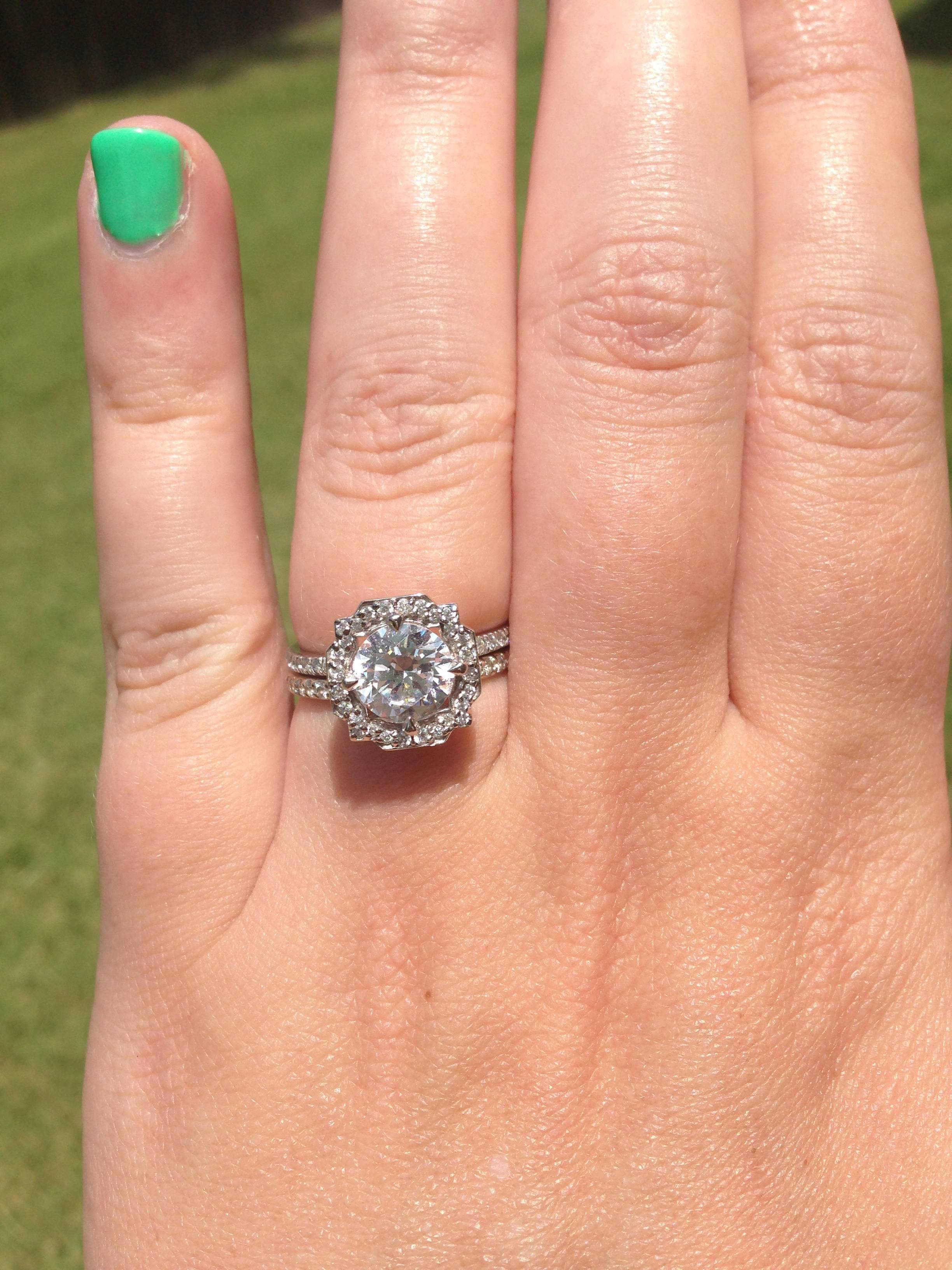 Just Got My Custom Hw Belle Inspired Ring! – Weddingbee Pertaining To Harry Winston Belle Engagement Rings (View 12 of 15)
