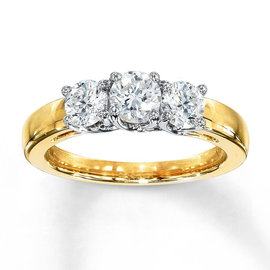 Kay – 3 Stone Diamond Ring 1 Ct Tw Round Cut 14K Yellow Gold Throughout Engagement Rings With Yellow Stone (View 5 of 15)
