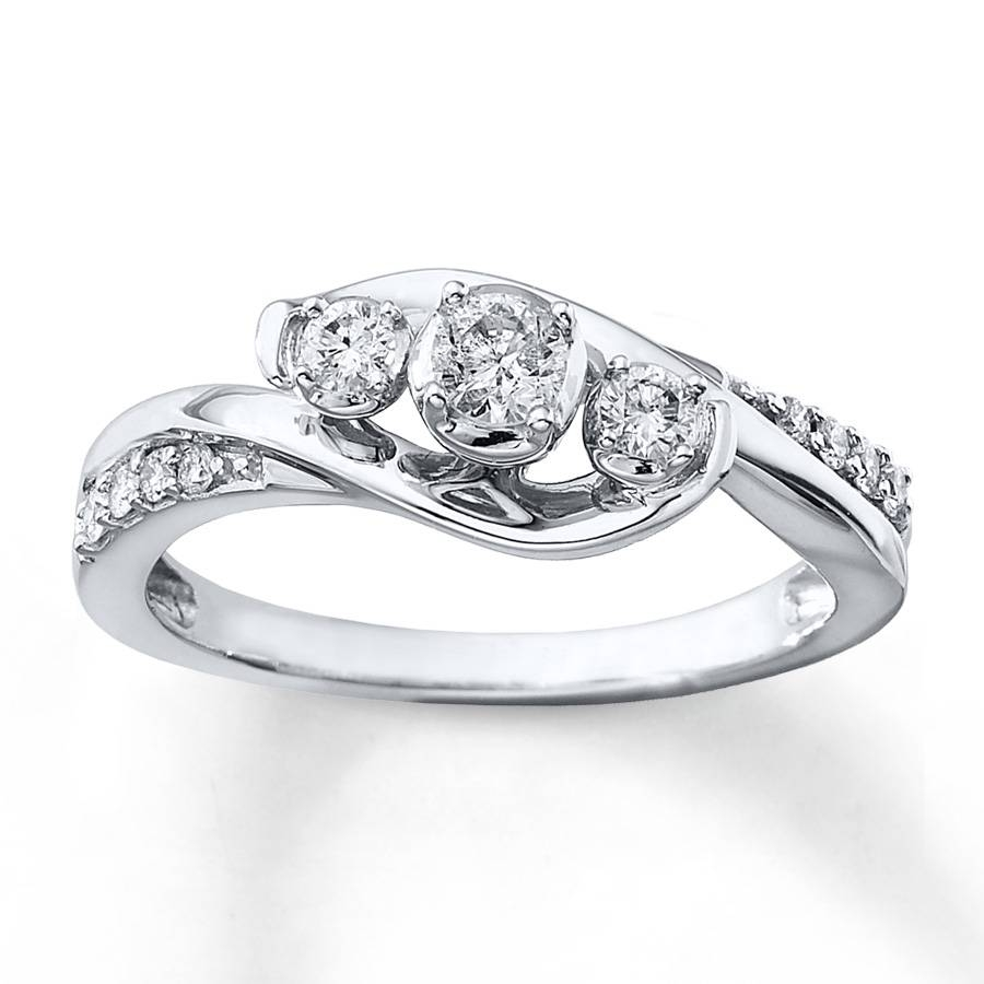 Kay – 3 Stone Diamond Ring 1/3 Ct Tw Round Cut 10K White Gold Within New Age Engagement Rings (Gallery 10 of 15)