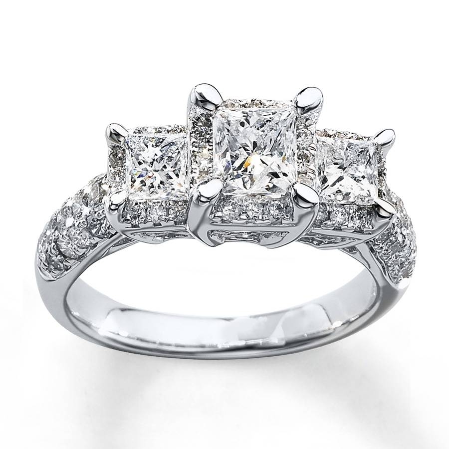 Kay – 3 Stone Diamond Ring 2 Ct Tw Princess Cut 14k White Gold With Princess Cut Diamond Wedding Rings For Women (View 8 of 15)