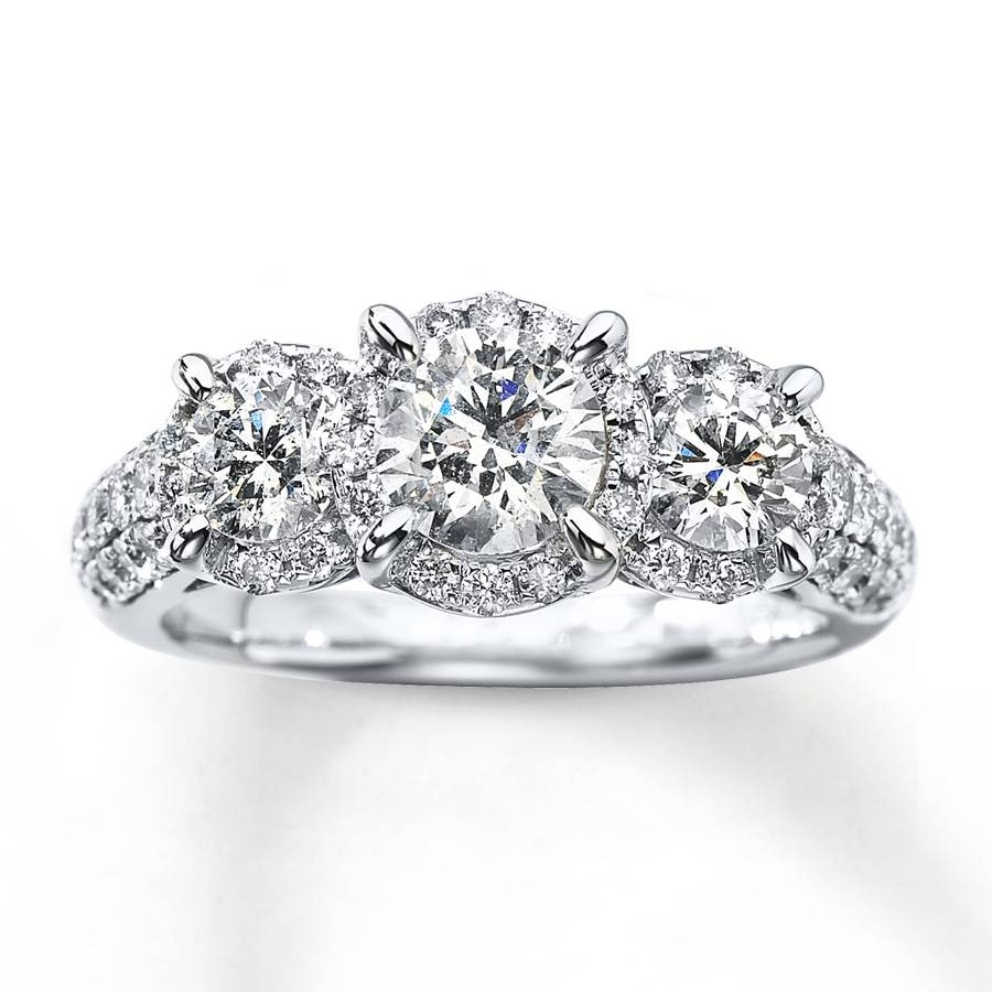 Kay – 3 Stone Diamond Ring 2 Ct Tw Round Cut 14K White Gold With Regard To Three Stone Wedding Rings (View 7 of 15)