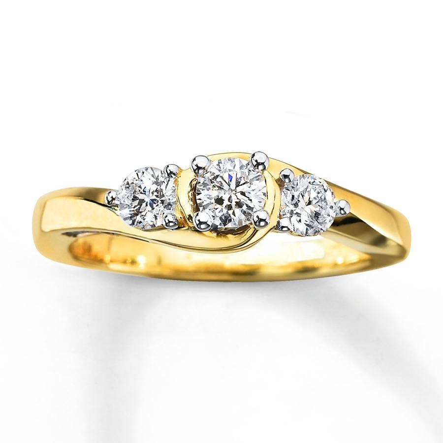 Kay – 3 Stone Diamond Ring 3/4 Ct Tw Round Cut 10K Yellow Gold Regarding Engagement Rings With Yellow Stone (View 6 of 15)