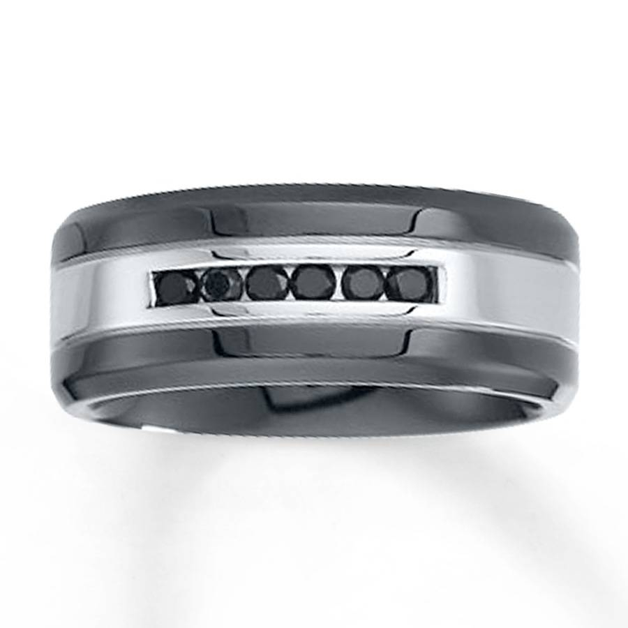 Kay – 9Mm Wedding Band 1/4 Ct Tw Black Diamonds Stainless Steel For Kay Jewelers Men Wedding Bands (View 6 of 15)