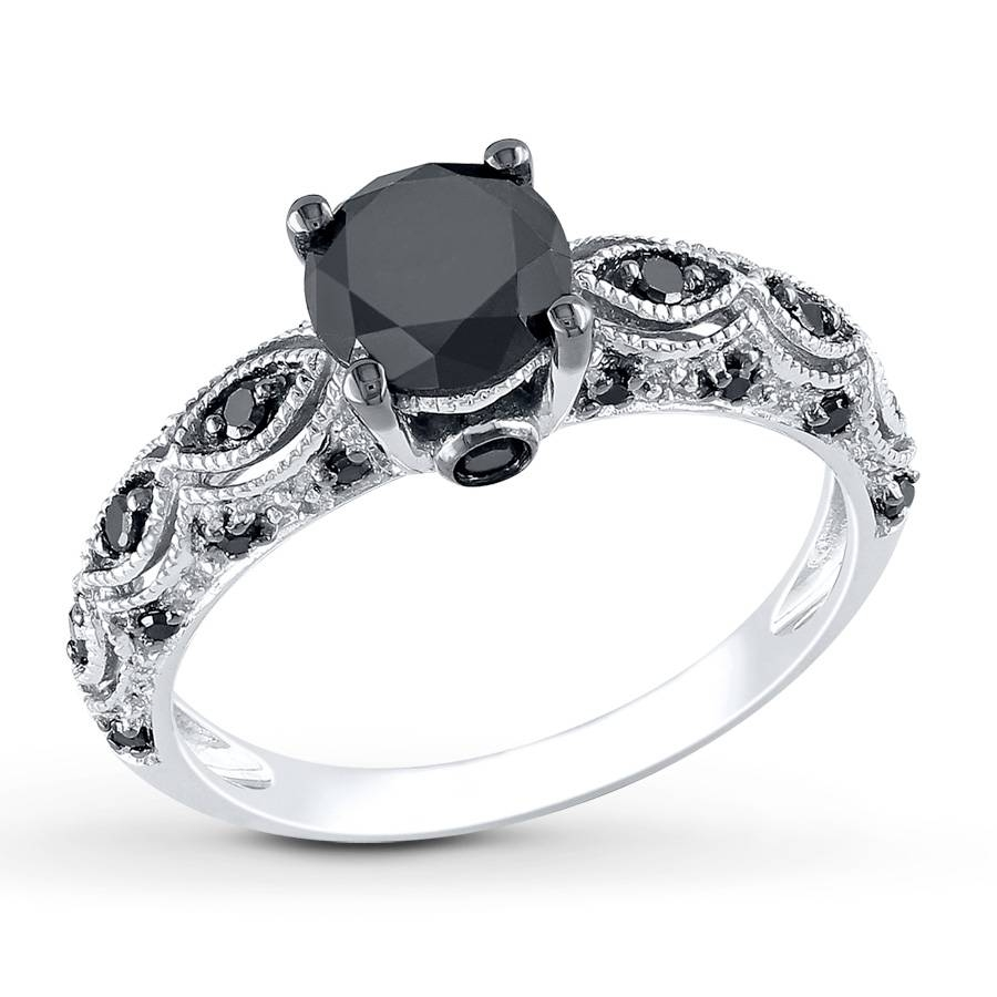 Kay – Black Diamond Ring 1 1/4 Carats Tw 10K White Gold With Regard To Black Gold Diamond Wedding Rings (View 10 of 15)