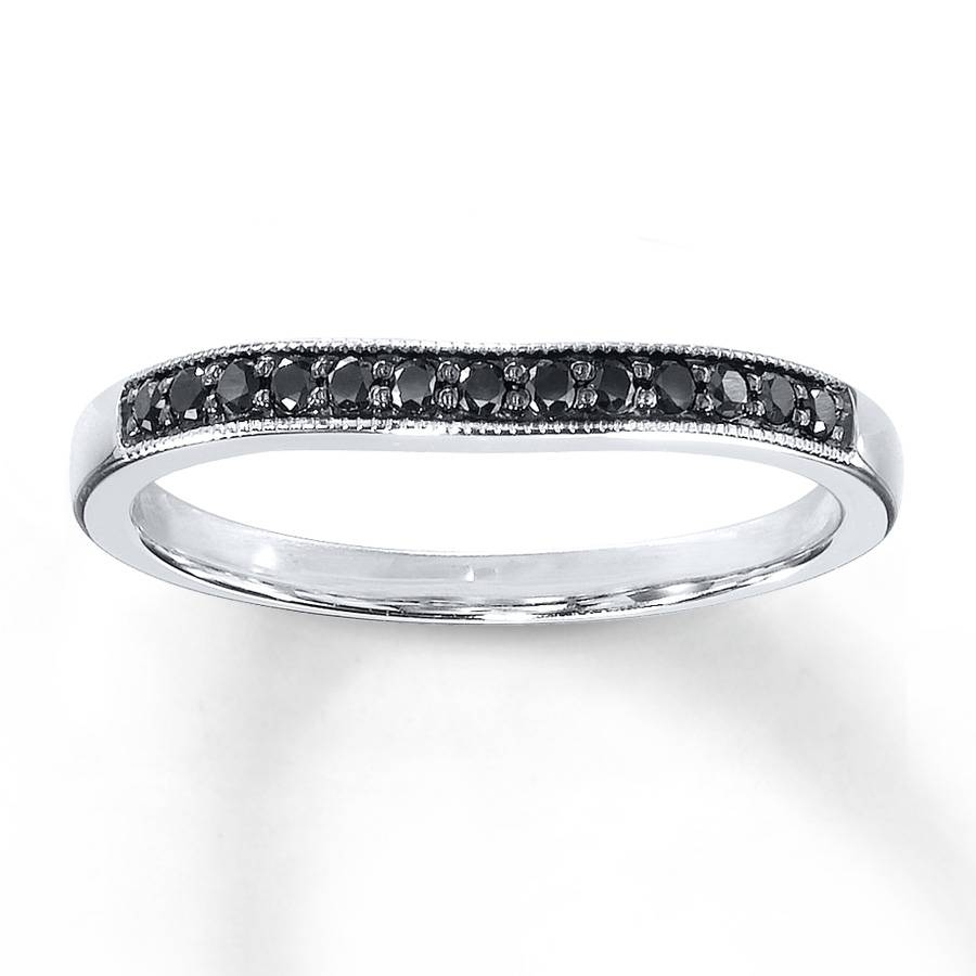 Kay – Black Diamonds 1/8 Ct Tw Wedding Band 10k White Gold In Wedding Bands For Her (View 14 of 15)