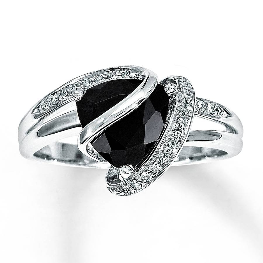 Kay – Black Onyx Ring 1/10 Ct Tw Diamonds Sterling Silver Pertaining To Onyx Wedding Bands (Gallery 3 of 15)