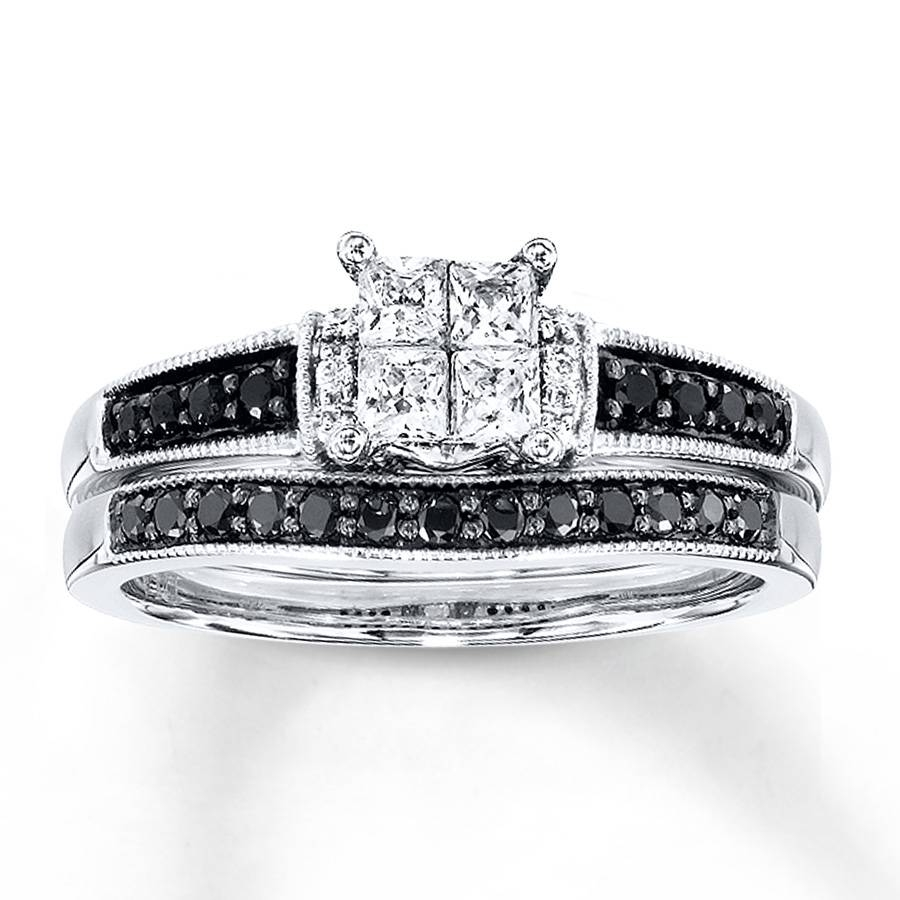 Kay – Black/white Diamonds 1/2 Ct Tw Bridal Set 10K White Gold In Kay Jewelers Wedding Bands Sets (View 6 of 15)
